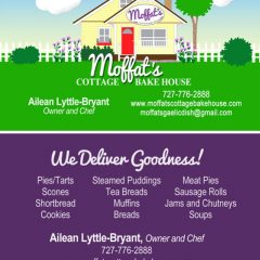 Two-sided business card with custom art for Moffat's Cottage Bake House