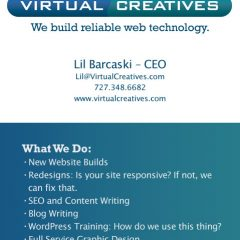 Two-sided business cards for Virtual Creatives